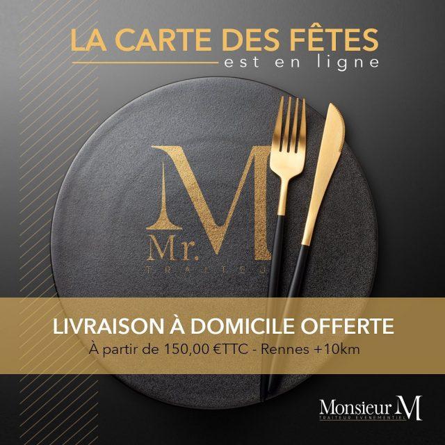 Commandez vos menus de fêtes avec Monsieur M - Traiteur ! Nous vous livrons gratuitement à domicile. www.mrmtraiteur.com #mrmtraiteur #cartesdesfetes #livrealamaison #traiteurrennes
